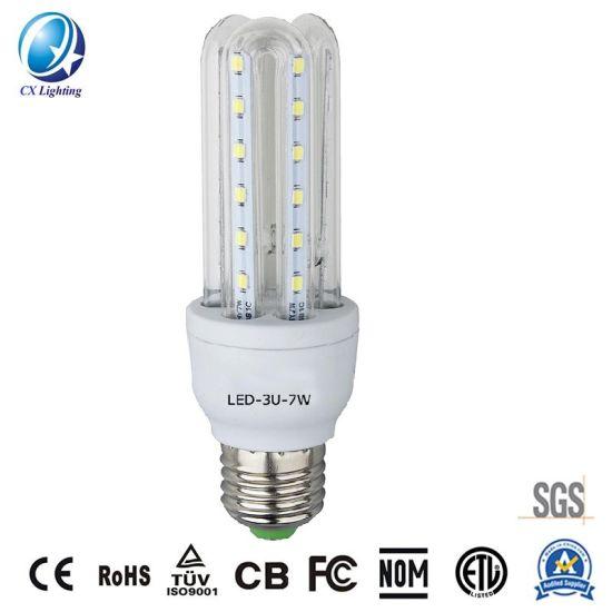 Hot Sale U Shape LED Energy Saving Lamp 3u 7W 630lm 85-265V Ce RoHS