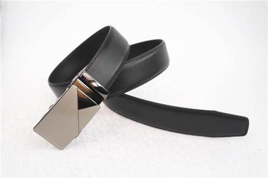 2021 Hot Sell Auto Buckle Black Genuine Leather Men Belt