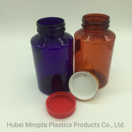 Plastics Round Hard Pet Amber Bottles with Shiny Metal Screw Cap Golden for Pills and Capusal pictures & photos
