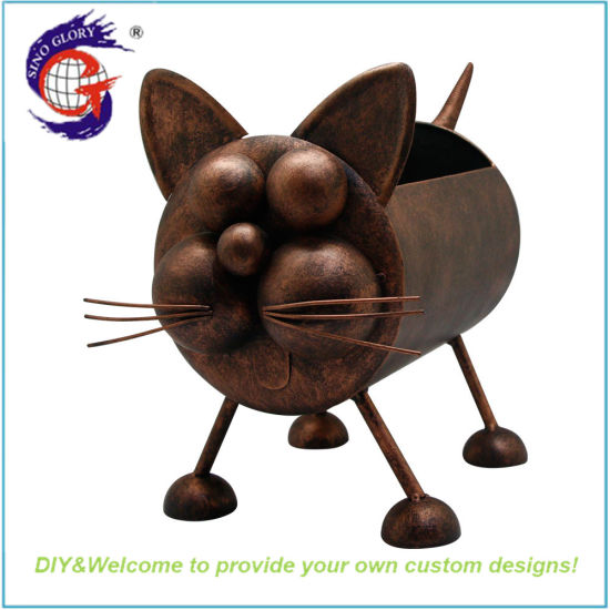Antique Copper Metal Cat Flower Pot Shape Plant Pot for Yard Decor