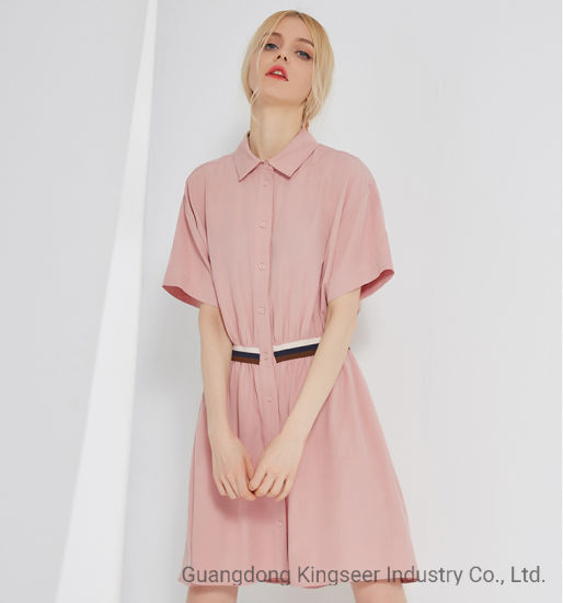 Fashion Lady Shirt Collar Pink Color Polyester Women Dress