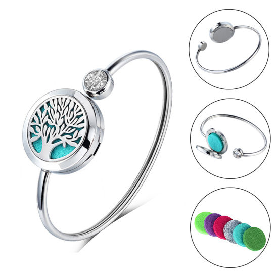 Promotion Gift Aromatherapy Tree of Life Stainless Steel Essential Oil Diffuser Aromatherapy Bangle
