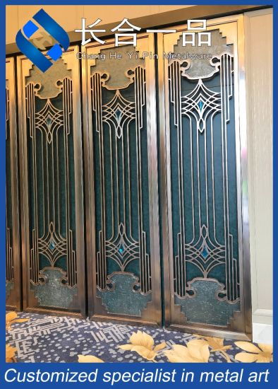 High-End Classic Design Stainless Steel Folding Screen Partition Wall for Hall Hotel