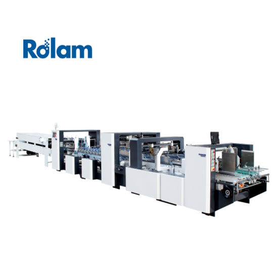 Automatic Corrugated Carton Box Packing Paper Package Folding Gluing Machine (GK1200/1450/1600AC) Automatic Paper Food Cake Pizza Plate Lid Straw Cup