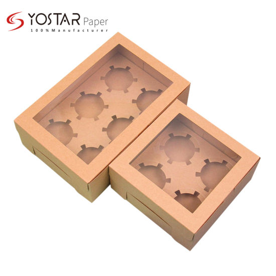 Disposable Biodegradable Packing Natural Kraft Cardboard Paper Box for Pastry Cake Food