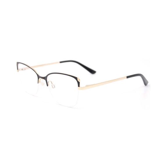 2019 Cat Eye Half-Rim Stainless Steel Optical Frames for Women Manufacturer in Wenzhou