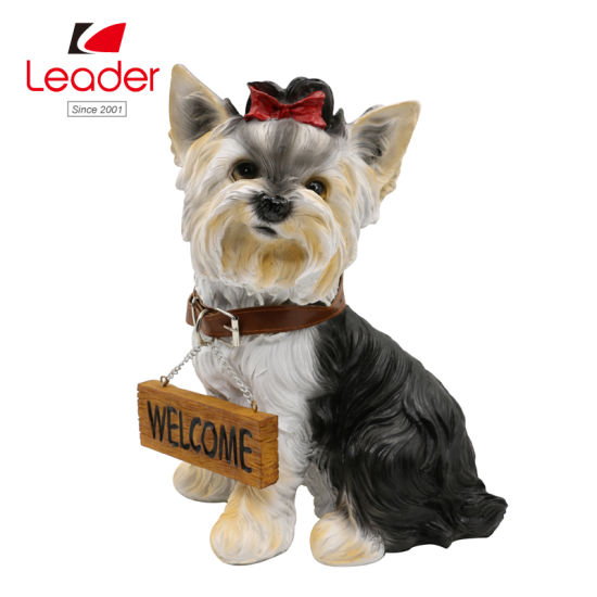 New Resin Dog Figurine with Welcome Sign for Home Decor
