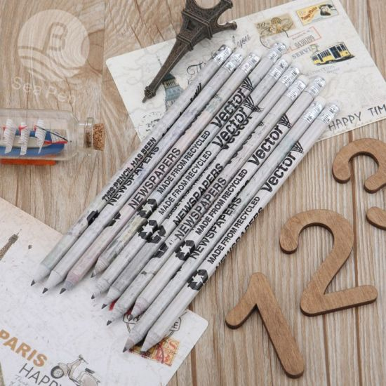Eco Friendly Newspaper Rolling Pencil Paper Pencil with Sample pictures & photos