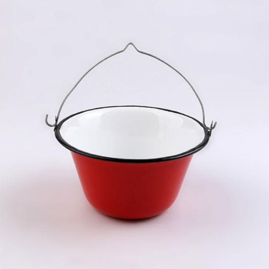 Ice Bucket with Metal Lanyard and Wooden Handle