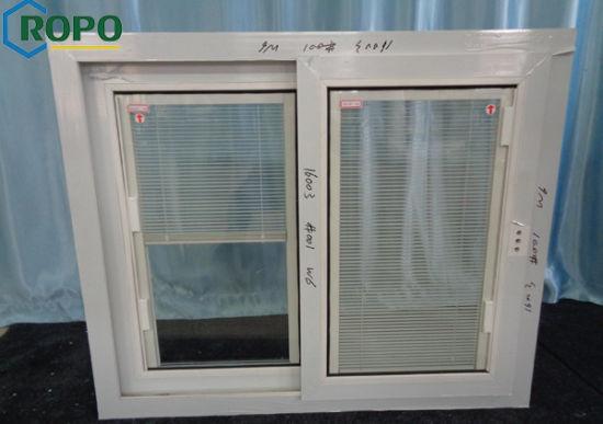 White Color Plastic Frame Sliding Serie Windows With Blinds
