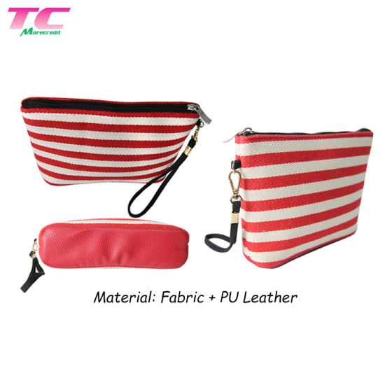 Morecredit Popular Wholesale Custom Promotional Travel Stripe Canvas Makeup Beauty Bag for Cosmetic