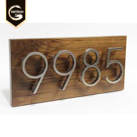 Gold Hotel Digital Room Number Small Metal Wooden Plate Apartment Door  Signs-0416e