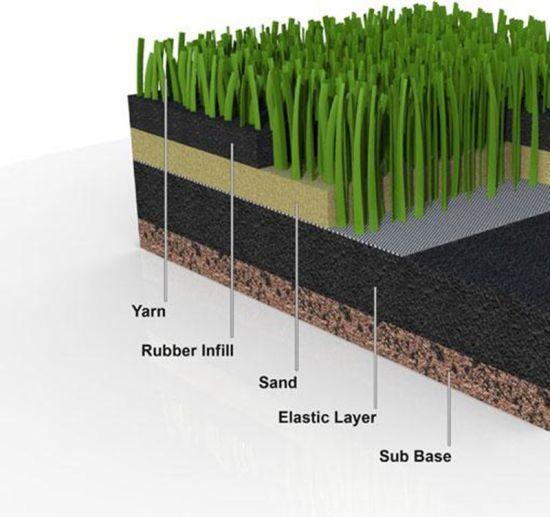 54mm Height Cross Shape Artificial Grass for Football Field