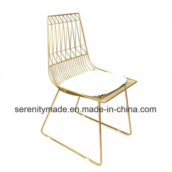 Excellent Modern Event Furniture Stackable Outdoor Gold Wire Metal Dining Chair Creativecarmelina Interior Chair Design Creativecarmelinacom