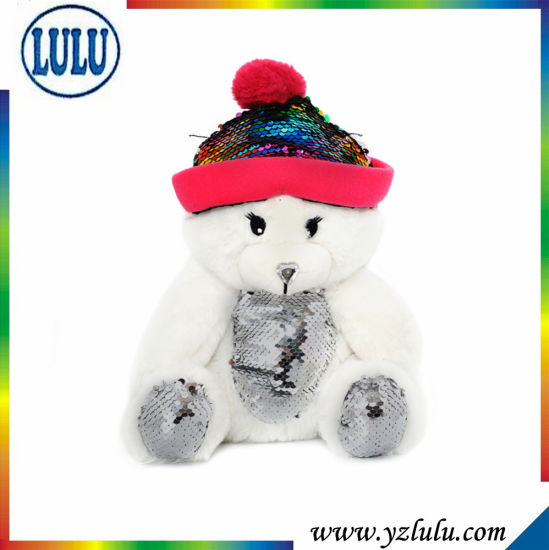 Lovely Kids Present Sitting Stuffed White Teddy Bear Plush Toy with Hat