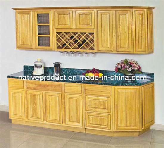 China American Style Rubber Wood Kitchen Cabinet - China Kitchen ...