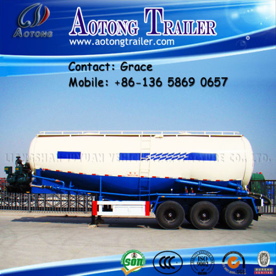 China Factory V Shape W Shape Dry Powder Material 3 Axles 40tons 60tons 80tons Bulk Cement Tank Semi Trailer for Pakistan pictures & photos