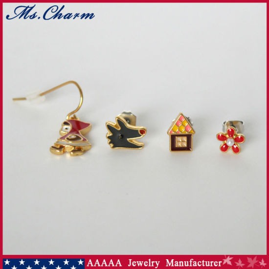 Hood Wolf House Imitation Pearl Flower Stud Earrings Set 4PCS/Set pictures & photos