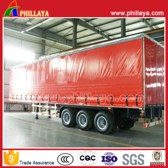Tarpaulin Open Box Truck Steel Fabric Curtain Side Semi Trailer pictures & photos
