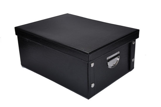 Portable PU Leather Storage Box For Clothes / Shoes / Hats Packaging