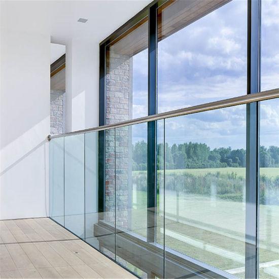 Aluminum U Base Shoe Tempered Glass Balustrade with Side Mount Handrail Design