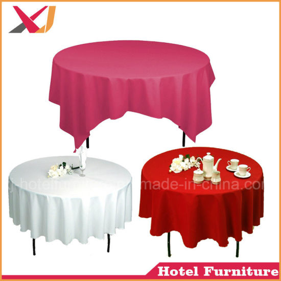 China Restaurant Polyester Plain Round Table Cover Cloth For Sale