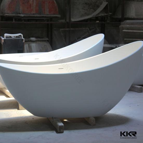 Kingkonree White Matt One Person Stone Bathtub Bath Hot Tub
