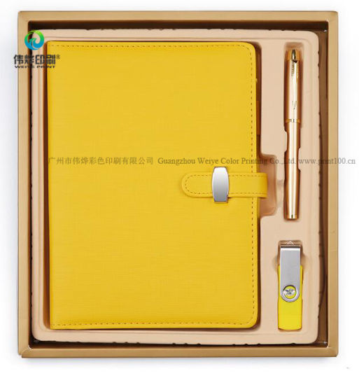 Custom Soft Leather Bussiness Writing Exclusive Notebook Promotion Gift Set with USB pictures & photos