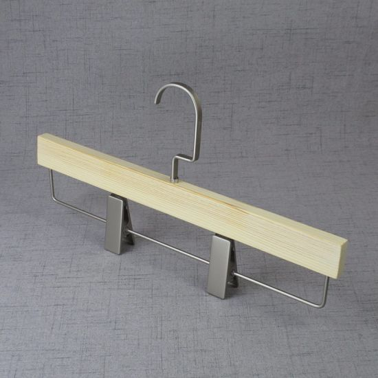 China Special Surface Wooden Bottom Pant Hangers With Flat Square