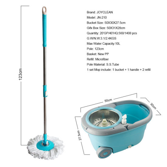 Joyclean New Spin Mop Bucket with 2 Wheels and Separable Basket