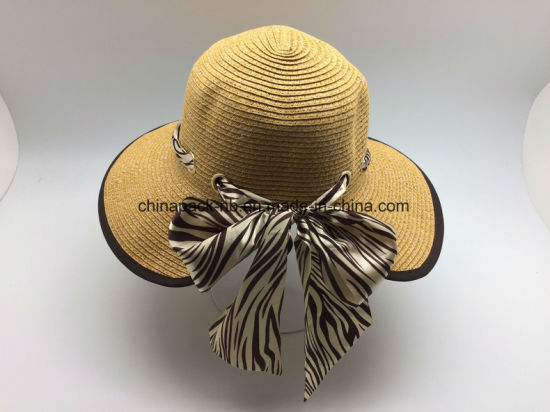 fa0166c7 Foldable Straw Beach Bucket Hat Women Floppy Paper Straw Hat with Bowknot.  Get Latest Price
