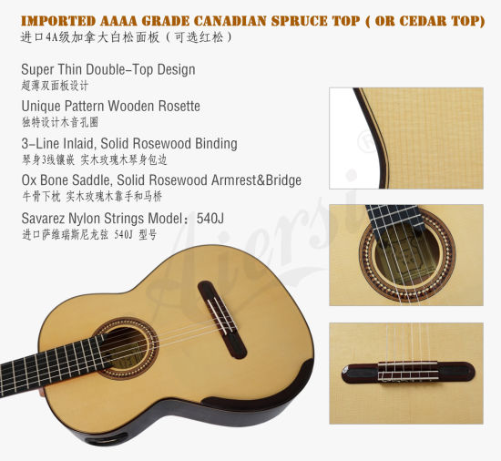 Solid Master Grade Concert Classic Guitar From Yulong Guo (GC03A) pictures & photos