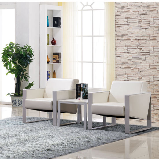 Single Seater Office Sofa With Middle Coffee Table For Reception Mingle Furniture