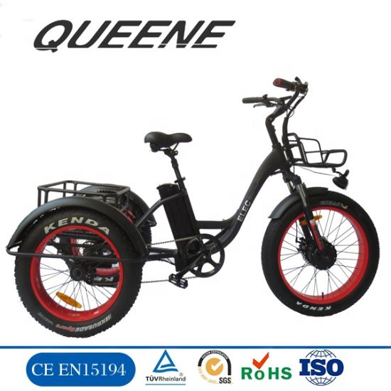 Queene/24 Inch 500W Fat Bike 3 Wheel Bicycle Cargo Electric Tricycle for Adults Fat Tire Electric Tricycle
