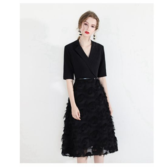 Women Empire Plus Size Black Evening Dress