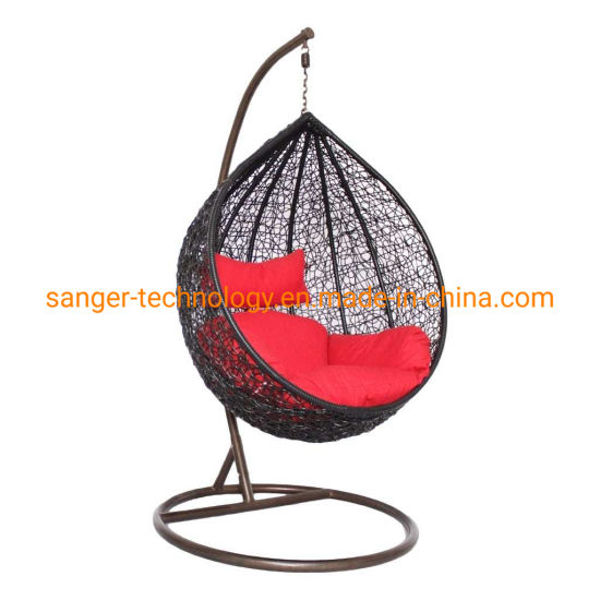 Sunny Daze Danielle Hanging Egg Chair Swing, Resin Wicker Basket Design, Indoor or Outdoor Use, Includes Cushion