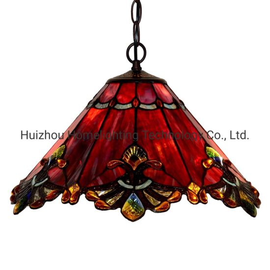 Tfp-1804 Baroque Tiffany Style Red Stained Glass Ceiling Pendant Lamp
