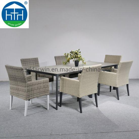 Modern Outdoor Restaurant Garden Dinning Tables and Chairs Outdoor Rattan Wicker Dining Set