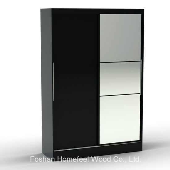 Wooden Bedroom Furniture Sliding 2 Door Wardrobe with Mirror (WB31) pictures & photos