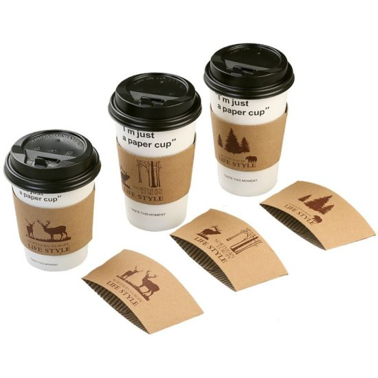 Custom Disposable Hot Tea Drinking Coffee Water Kraft Paper Cup with Paper Lid