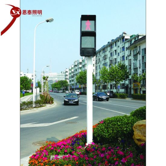 Crossroad LED Traffic Signal Light Pole Integrated Red and Green Traffic Command Warning Light