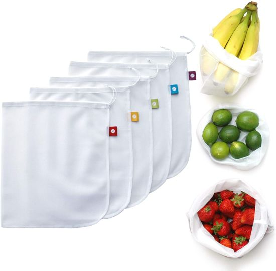 Reusable Produce Bags Washable Mesh Bags for Fruits &Vegetables Set of 5 -Flip&Tumble