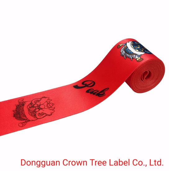 Red Peak Dye Sublimation Non-Elastic Woven Ribbon with High Quality