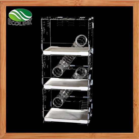 Transparent Acrylic Hamsters Gerbil Rats Three-Tier Playhouse Rodents Houses Condos Cage Villa Swing Seesaw Wooden Toys pictures & photos