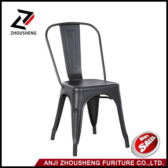 Metal Cafe Hotel Furniture Wholesale Dining Tolix Restaurant Chair Vintage with Back Rest