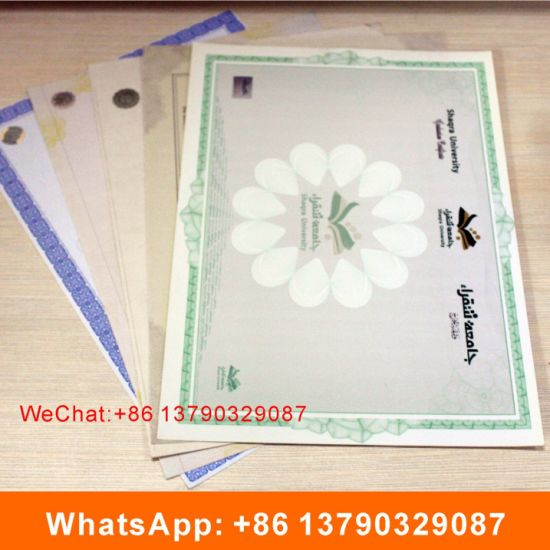 anti counterfeiting watermark paper certificate