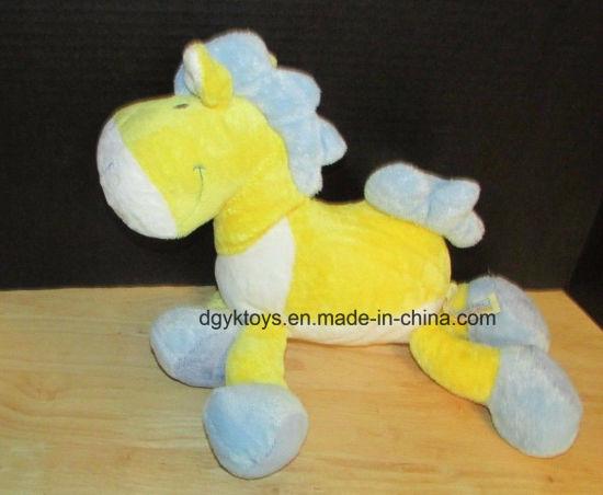 China Yellow Blue White Horse Plush Stuffed Lovey Toys China Soft