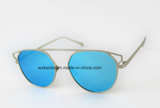 Hot Sale Metal Sunglasses Oversize Eyebrow Without Nose Bridge Km16152 Colourfull Lens pictures & photos