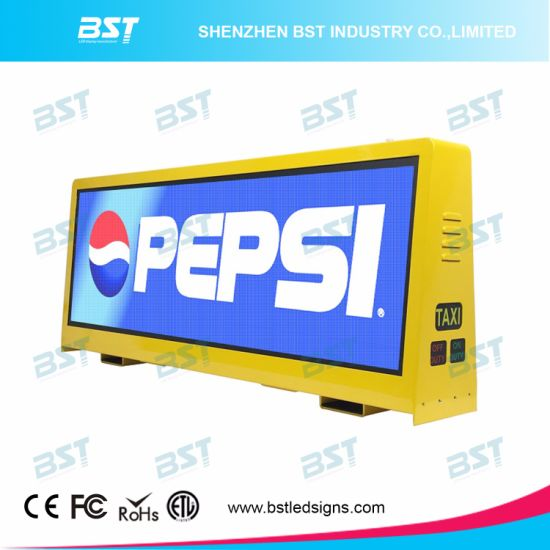 High Brightness Full Color 3G/4G/WiFi Taxi Top LED Display for Advertising Display