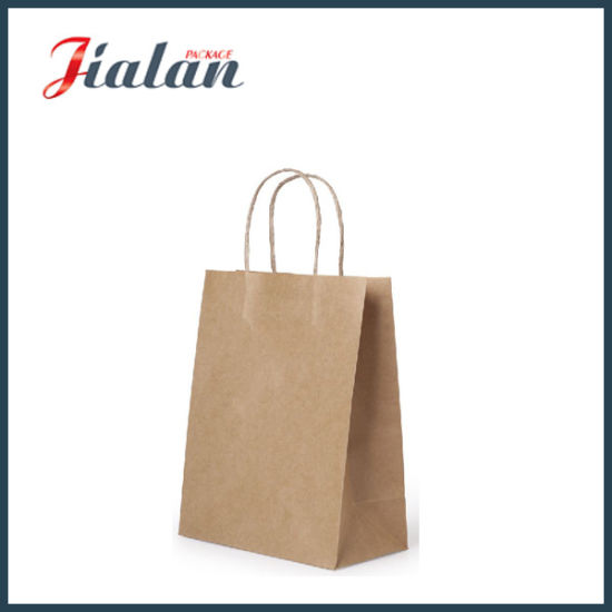 Machine Made Brown Kraft Paper Gift Bags with Twisted Handle